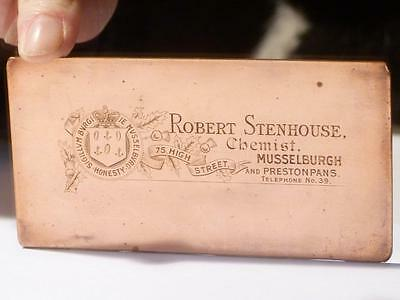 Antique Pictorial R Stenhouse Chemist Musselburgh Copper Printers Plate #61