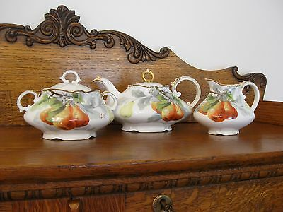 Hand Painted Limoges Tea Set with Pears~Signed