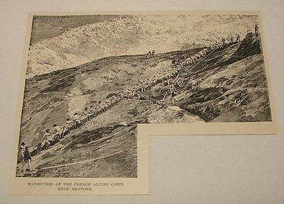 1895 magazine engraving ~ MANUEVERS OF FRENCH ALPINE CORPS