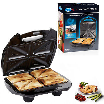 4 Slice Quad Black Large Family Sandwich Toaster Maker Machine Non Stick