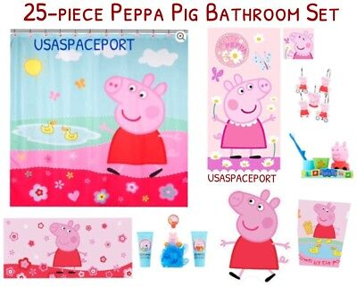 25 Pc Complete Peppa Pig Bath Shower Curtain Hooks Rug Tub Mat Towels Gift Set