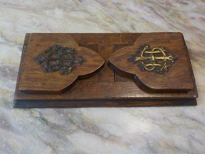 Victorian Oak & Brass Extending  Book Slide