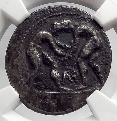 Aspendos Pamphylia 370BC ATHLETES WRESTLE Slinger Silver Greek Coin NGC i60209
