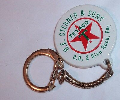 Vintage TEXACO Gas Station Garage Advertising keychain Glen Rock PA H.E STERNER