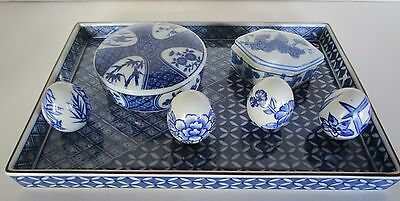 Vintage Oriental Blue & White Porcelain Tray Trinket Boxes and More