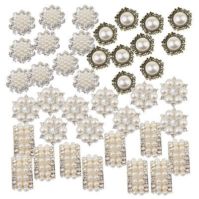 40x Mixed Pearl Crystal Buttons Flower Flatback Embellishments for DIY Decor