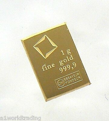 1 Gram Valcambi Suisse Gold Bar .9999 Pure