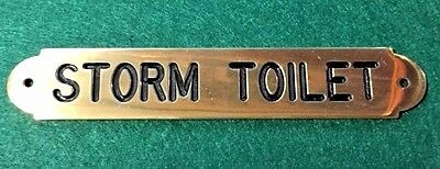 Ships Storm Toilet Plaque Sign Solid Brass