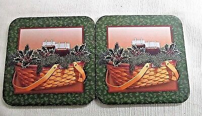 2 LONGABERGER Cork Back COASTERS  ~  Christmas baskets with Holly~ VERY NICE!