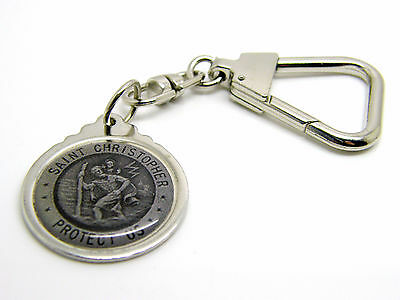 Saint St Christopher Luck Badge Keyring Key Ring Silver Nikel Or Gold Plated
