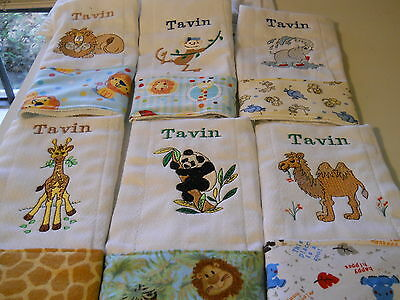 Personalized Embroidered Baby Burp Cloths - Set of four boy