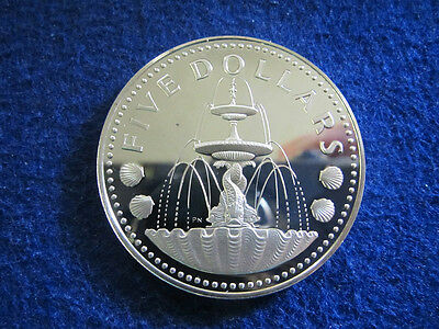 1973 Barbados Silver Proof 5 Dollars - Shell Fountain - Free U S Shipping