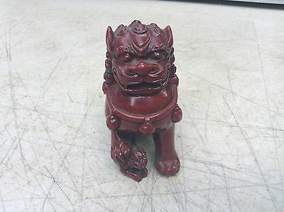 Foo Dog Red Burgandy Color Carved Wood Resin Paperweight 4 In. Wide