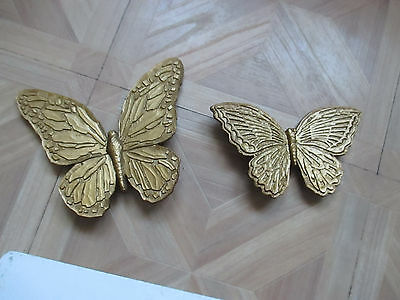 Vintage Home Interiors Gold Resin Butterflies Wall Plaque Syroco 7040 7041 NICE