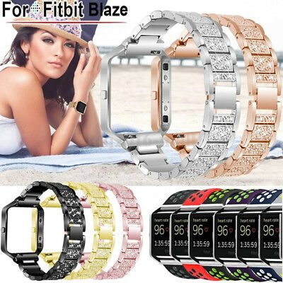 Stainless steel / Silicone Strap Band+Frame Replace For Fitbit Blaze Sport Watch
