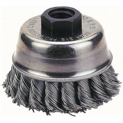 "Knot Type Wire Cup Crimped Wire Brush, 5/8"" Threaded Arbor And 4"" Cup Diameter"