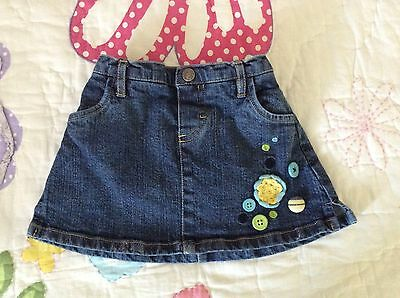 Hartstrings Toddler Girl Jean Skirt size 24 months old w/attached diaper covers