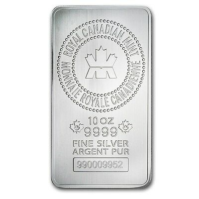 10 Oz Silver Rcm Bar - Royal Canadian Mint