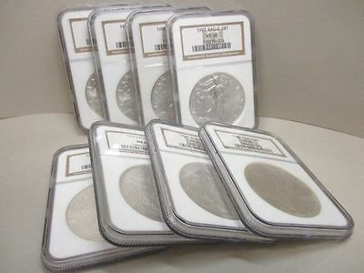 Lot of 8 U.S. Silver Eagle $1 Coins MS69 NGC