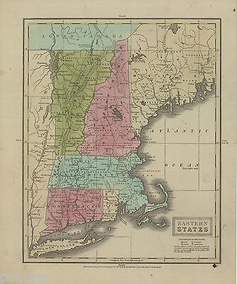 "1829 Map  ""Eastern States"" (New England)-original, hand color"
