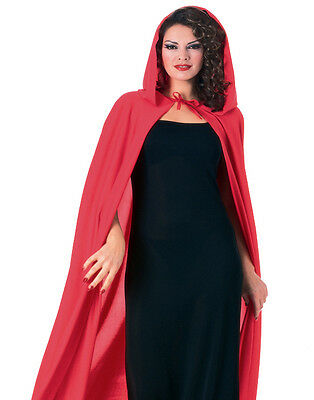 Adult Red Long Hooded Cape Cloak Vampire Witch King Gothic Halloween Costume