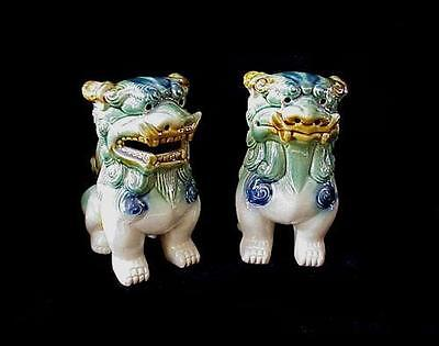 """Vintage Pair Of Majolica Chinese Foo Dogs 7 1/2"""" Tall"""