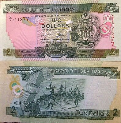 Solomon Islands 2004 2 Dollars Uncirculated Banknote P-25 From A Usa Seller !!!!