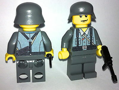 1 GERMAN Wehrmacht soldier WW2 & MP-40 custom figure built using lego parts