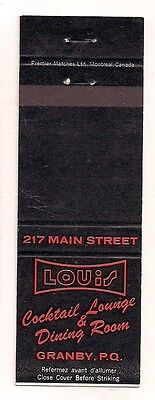 Louis Cocktail Lounge & Dining Room 217 Main St. Granby QC Quebec Matchcover
