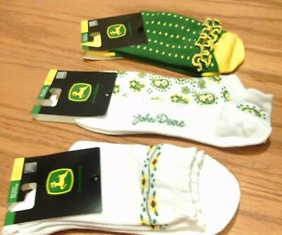 3  Pair John Deere  Womens Socks For Shoe Size 4-10  New