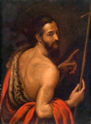 Hand painted Oil painting male portrait St. John The Baptist holding cross