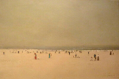 Hand painted oil painting John Atkinson People on the beach in summer landscape