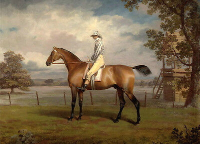 Hand painted oil painting horseman rider with horse in dusk by village landscape