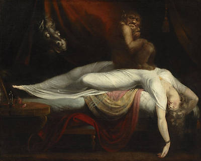 Dream-art oil painting Anglo-Swiss artist Henry Fuseli - The Nightmare sleeping