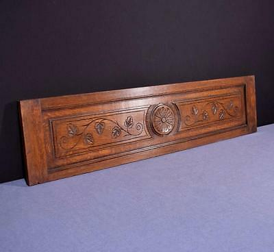 "*43"" French Antique Hand Carved Architectural Panel Oak Wood Trim Salvage"