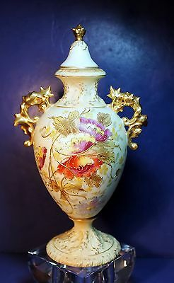 Antique German RW Rudolstadt Hand Painted Marked Lided Urn