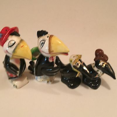 Vtg. Rare Anthropmorphic Heckle & Jeckle Crow Salt & Peppers Sets, Good Cond.