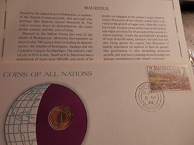MAURITIUS 1975 1-CENT COIN - UNC - STAMP  FRANKLIN MINT Coins of All Nations