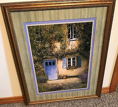 "Homco Home Interiors Picture 26.5"" x 22.5"" Artist Warwick Cottage Blue Door VGC"