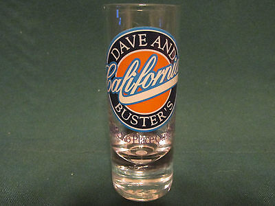 D & B   (Dave & Busters)    California White Letters    4 Inch Tall Shot Glasses