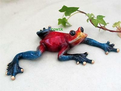 FROG Red Blue TROPIC CRITTER Golden Pond RESIN Realistic Sculpture
