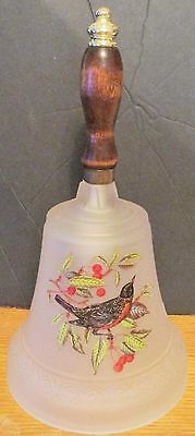 Frosted Glass Large Bird Bell With Wooden Handle