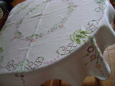 Lovely Hand Embroidered  Linen Tablecloth, Purple & Lilac Flowers