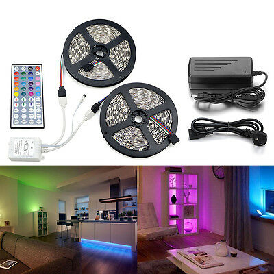 10M 5050 RGB LED Strip with 44keys IR Remote Controller +12V 2A/5A Power Adapter