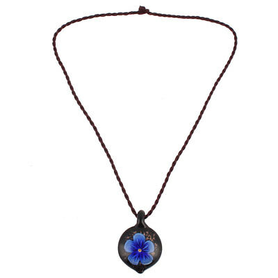 Wedding Outdoor Lady Glass Floral Pattern Pendant Decor Necklet Necklace Blue