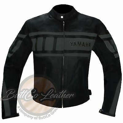 YAMAHA 0120 Motorbike Motorcycle Biker Racing REAL Grey Leather Jacket COAT