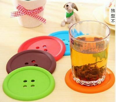 Giant Silicone Button Colourful Drinks Coaster Placemat Table Mat Coffee Tea