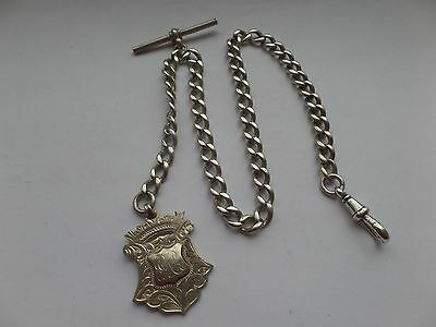 Antique Solid Silver Albert Pocket Watch Chain & Fob Medal