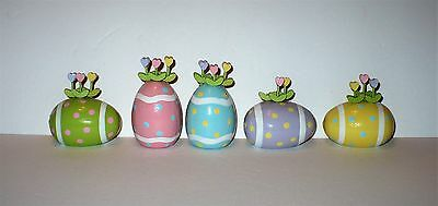 5 Dept 56 Easter Wood Bright Hand Painted Eggs With Tiny Tulip Flowers