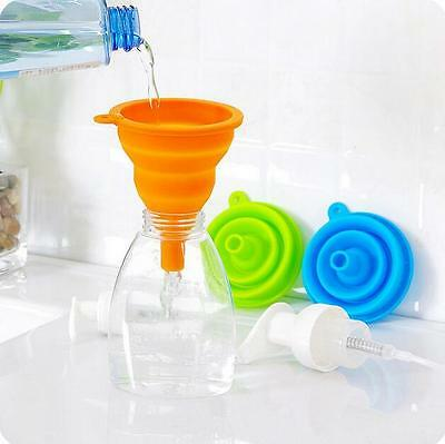New Kitchen Fold Silicone Heat Oil Resistant Water Liquid Collapsible Funnel UK